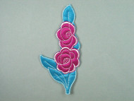 "Aqua & Fuchsia Embroidered Tricot Applique - 5.875"" x 2.75"" (APM064)"