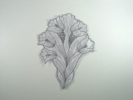 "Silver & Grey Embroidered Satin Applique - 7.375"" x 5.5"" (APM080)"