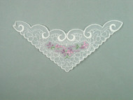 "White Embroidered Organza Yoke - 7"" wide x 3.5"" (APY029)"