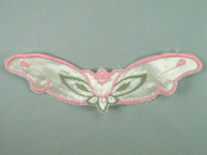"Pink & Green Embroidered Satin Yoke - 8.25"" wide x 2.75"" (APY018)"