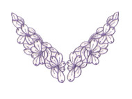 "Dk Lavender Embroidered Organza Yoke (Set of 2) - 5.625"" Long (APY042)"