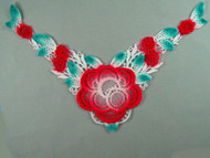 "White Venise Yoke w/ Red & Aqua - 8.25"" wide x 6"" (APY035)"