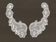 "White Embroidered Organza Yoke (Set of 2) - 5.75"" Long (APY040)"