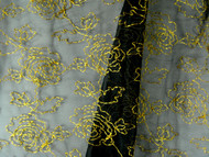 "Black & Gold Sheer Jacquard Rose Fabric - 108"" (MCAL01)"