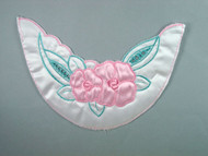 "White Backed Satin Yoke w/ Light Blue & Aqua Embroidery - 8.375"" wide x 6"" (APY031)"
