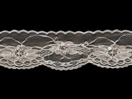 "White Edge Lace Trim w/ Sequins & Beads - 2.5"" (WQ0212E01)"