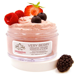 Very Berry Organic Oxygen Masque & Scrub with Antioxidants, Vitamin C & Superberries, 3oz