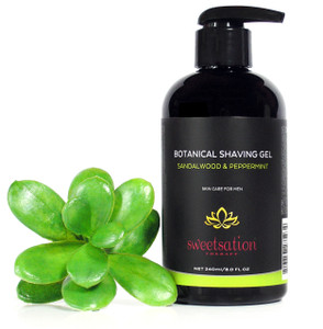 Men's Botanical Shaving Gel, Sandalwood & Peppermint, 8.0 oz