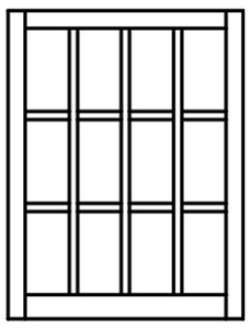Custom Sized Barn Sash - White PVC or Natural Pine Wood - 4W X 3H Lite Pattern