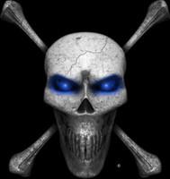 Digital Skull and Crossbones Blue Wall Decal