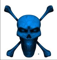 Digital Skull and Crossbones full blue