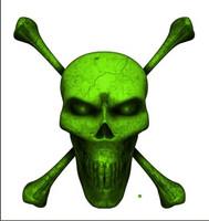 Digital Skull and Crossbones Full Green