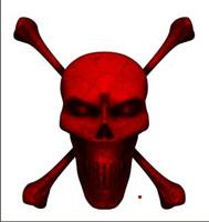 Digital Skull and Crossbones Full Red