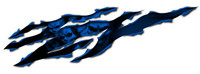 Skull Rip Blue Vinyl Sticker Decal
