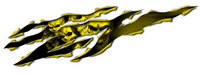Skull Rip Yellow Vinyl Sticker Decal
