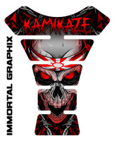 Kamikaze Skull Red Motorcycle Tank Pad Protector