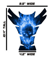 Large Exploding Skull Blue Motorcycle Tank Pad Protector