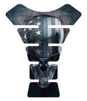 American Skull Flag Motorcycle Tank Pad Protector