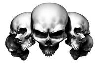 5 Skull White Decal Sticker