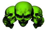 5 Skull Green Decal Sticker