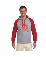 Adult Hoodie with special pocket Red/Gray 50% cotton 50% polyster