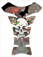 Old School Skull Snake Flower Tattoo Style Motorcycle Tank Pad Protector