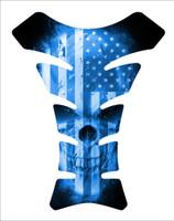 USA American Flag Skull Blue 3D Gel Motorcycle Tank Pad Protector