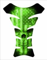 USA American America Flag Skull Green 3D Gel Motorcycle Tank Pad Protector