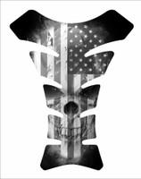 USA American America Flag Skull Black 3D Gel Motorcycle Tank Pad Protector