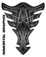 Extreme Pinstripe Dark Gray Motorcycle Tank Pad protector