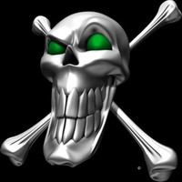 Digital Chrome Skull and Crossbones Green