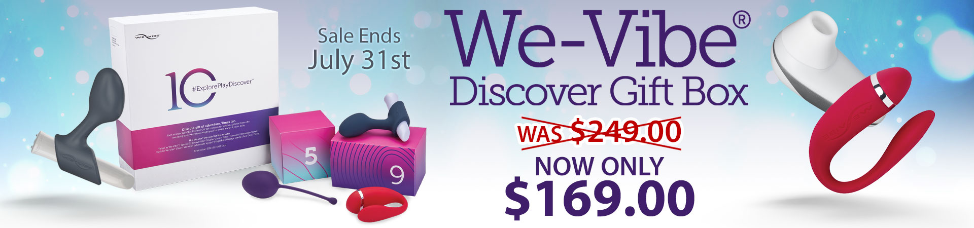 SheVibe Presents One Helluva Deal! The We-Vibe Discover 10 Piece Gift Box Is Now Only $169! Sale Ends July 31st - While Supplies