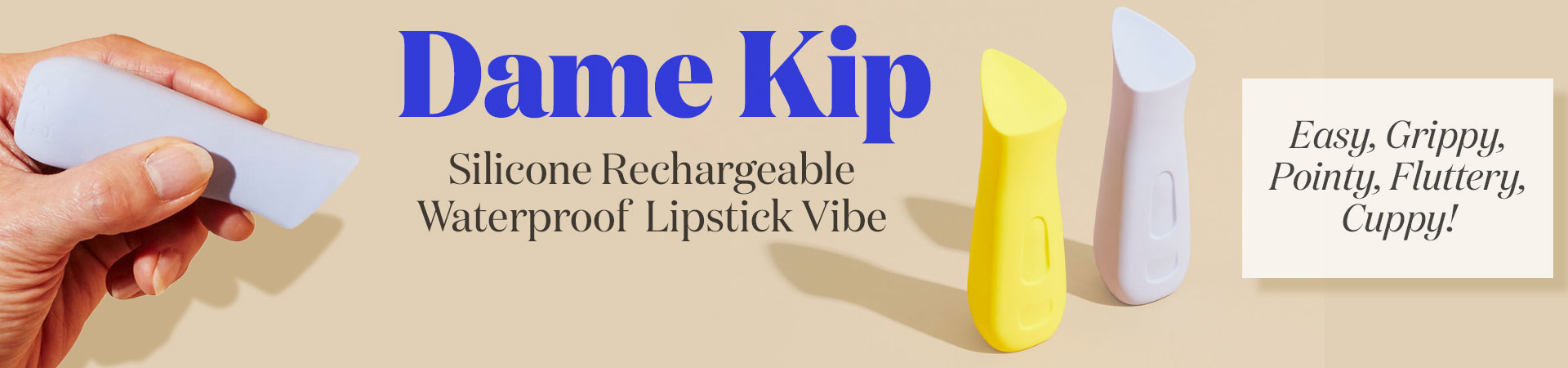 The Kip Silicone Rechargeable Waterproof Lipstick Vibrator by Dame