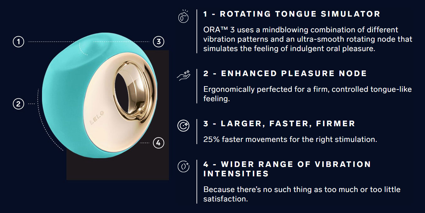 LELO ORA 3 Vibrating Rotating Oral Sex Stimulator - Features