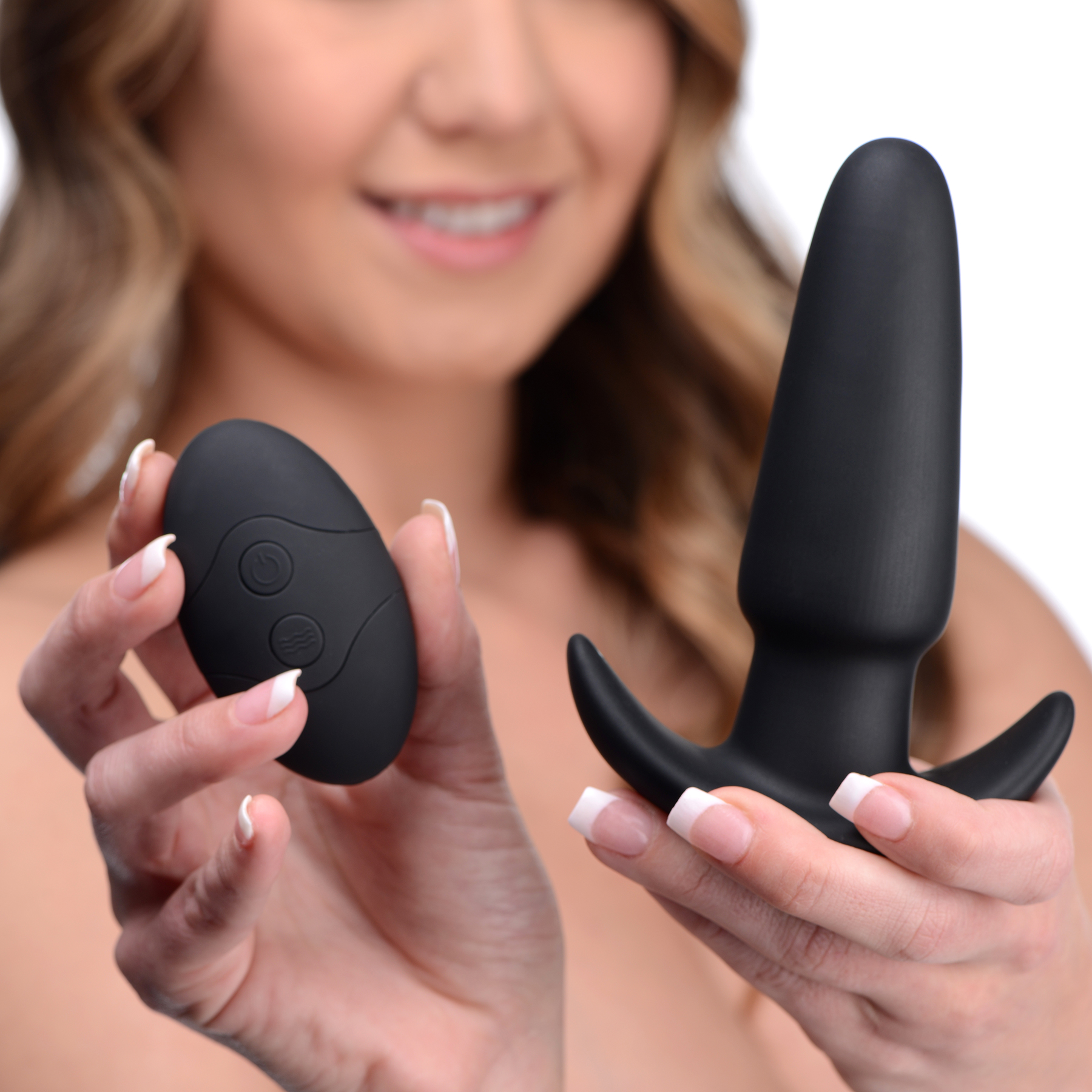 Thump It 7X Silicone Rechargeable Thumping Anal Plug With Remote Control - In Hand