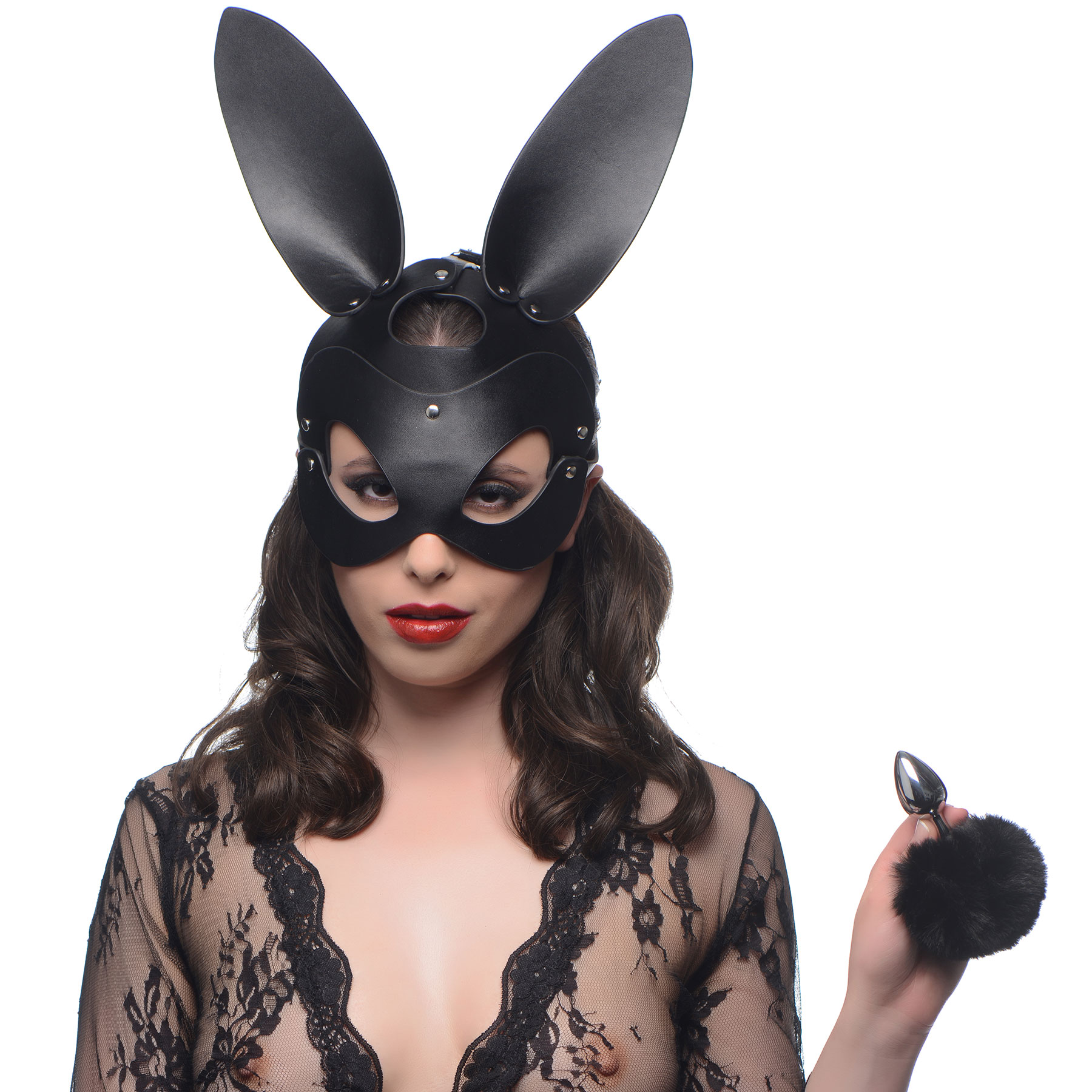 Tailz Aluminum Alloy Anal Plug With Black Faux Fur Bunny Tail & Matching Bunny Mask - On Model
