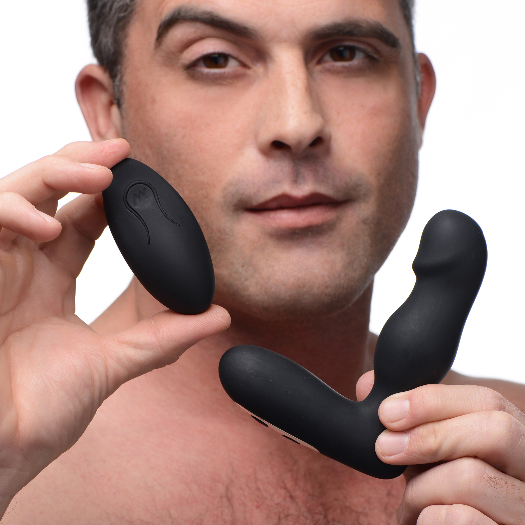 Thump It 10X Silicone Rechargeable Thumping Prostate Stimulator With Remote Control - In Hand
