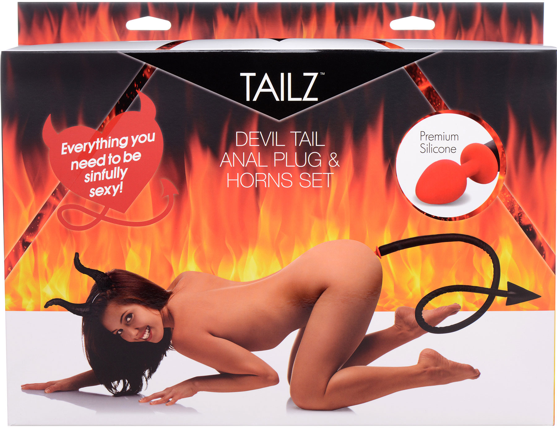Tailz Devil Tail Set - 2 Piece Kit With Red Silicone Tail Anal Plug - Package