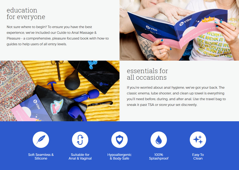 b-Vibe Anal Massage & Education Set With Le Wand, Educational Guide & Snug Plug 2 - Info Banner 2