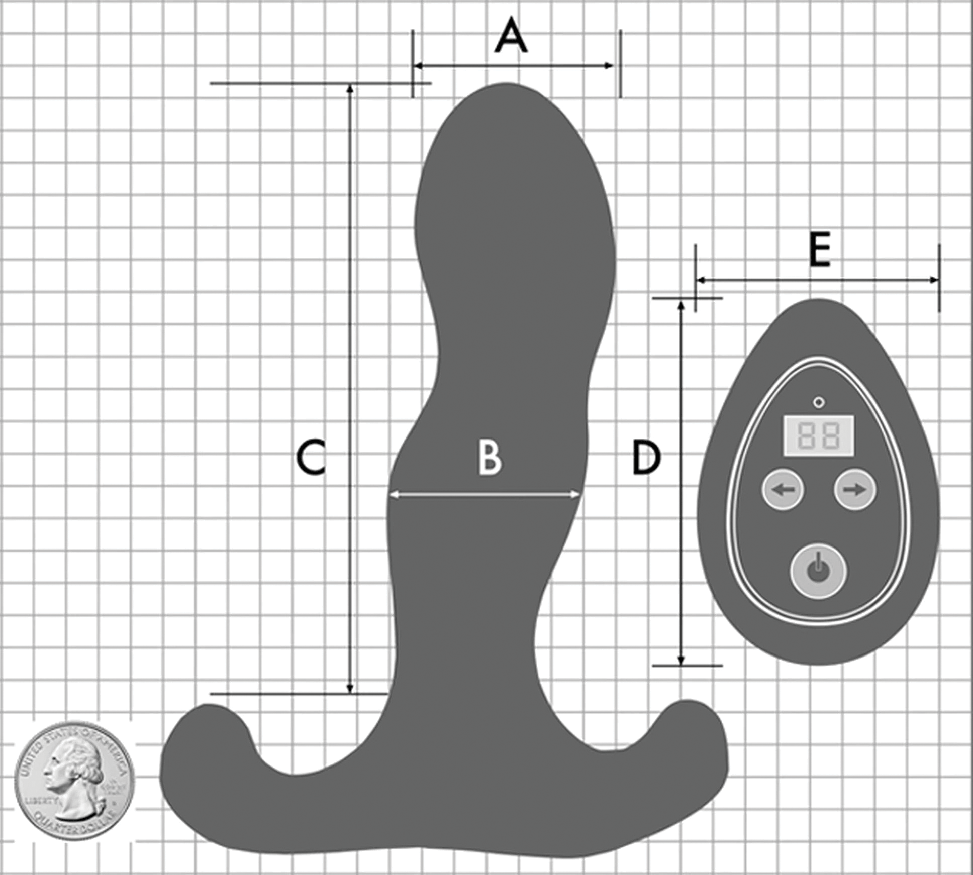 Aneros VICE 2 Vibrating Silicone Prostate Massager - Measurements