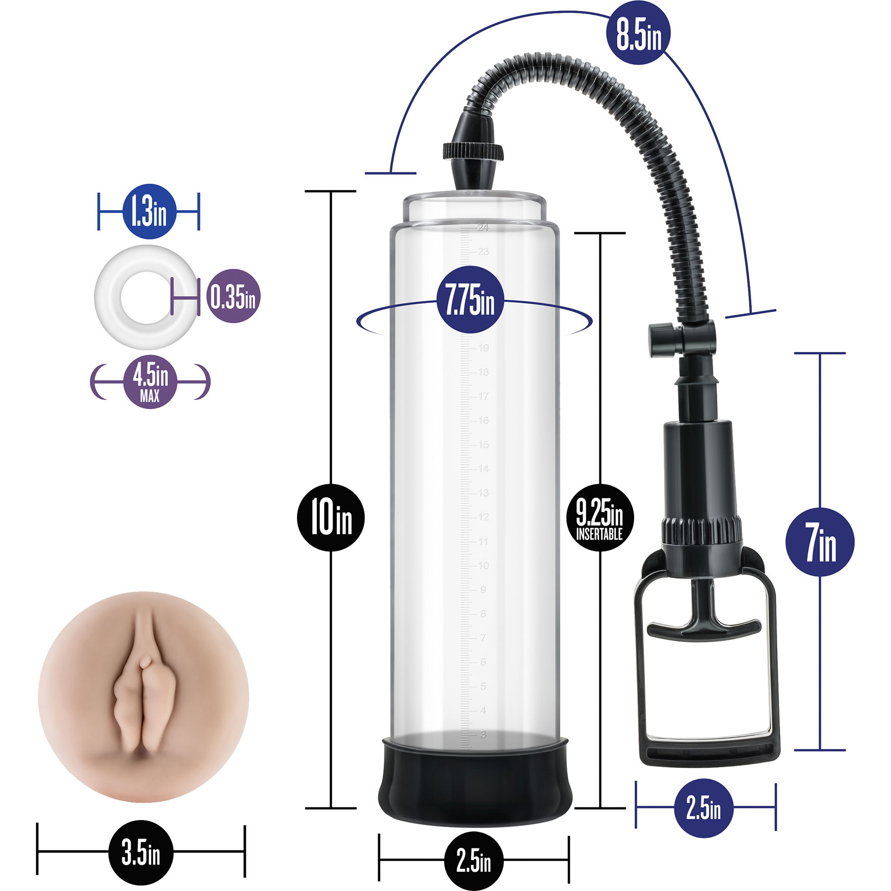 Performance VX5 Male Enhancement Penis Pump System With Realistic Sleeve - Measurements