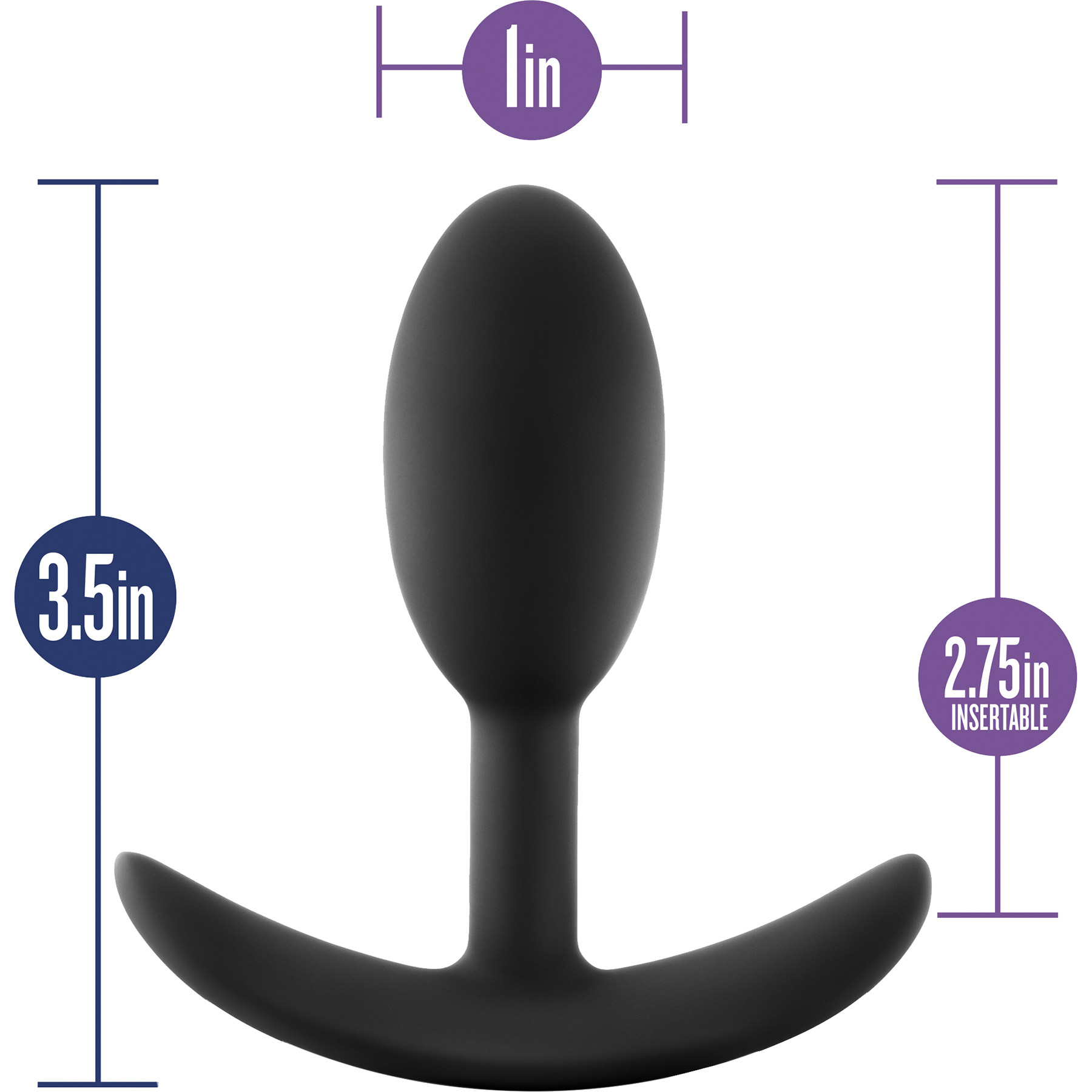 Luxe Wearable Silicone Vibra Slim Butt Plug by Blush, Small - Measurements