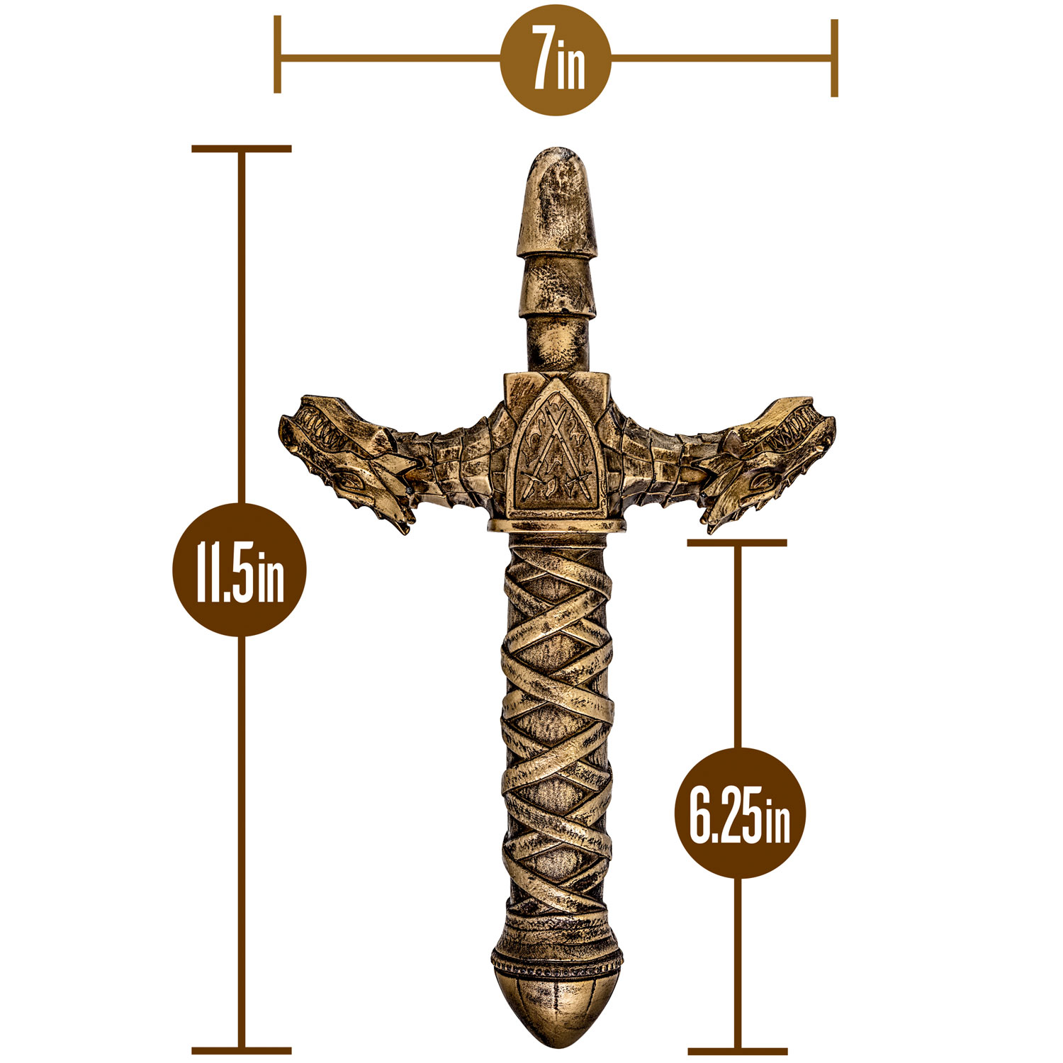 The Realm Drago Lock On Dragon Sword Dildo Handle - Measurements