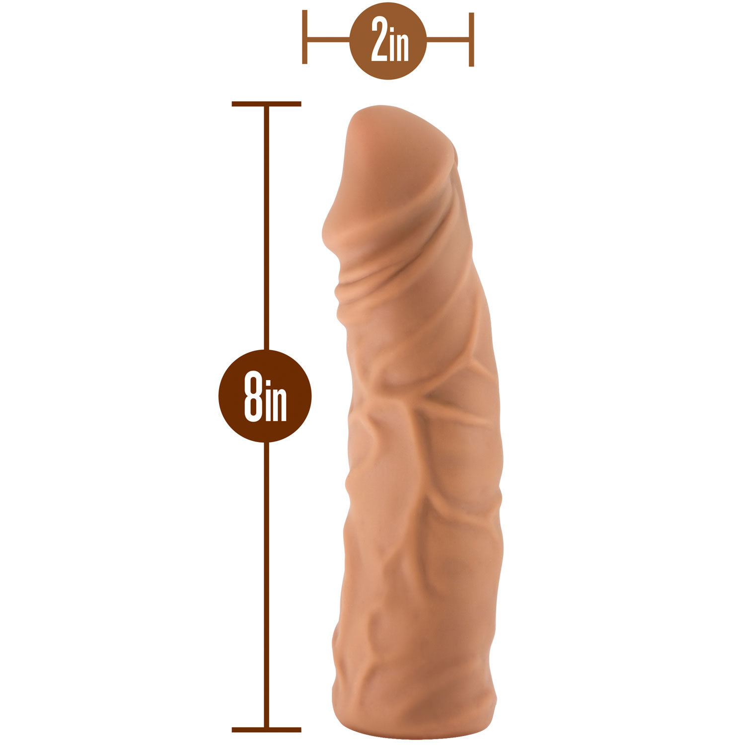 The Realm Realistic 8 Inch Silicone Lock On Dildo - Measurements