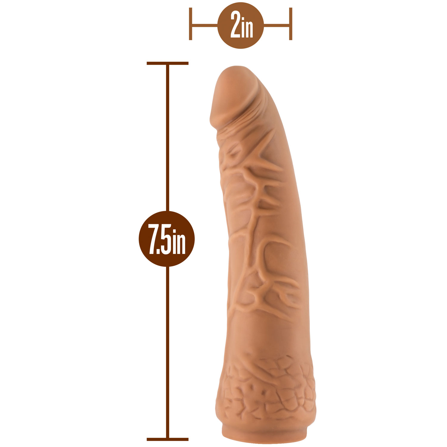 The Realm Realistic 7.5 Inch Silicone Lock On Dildo - Measurements