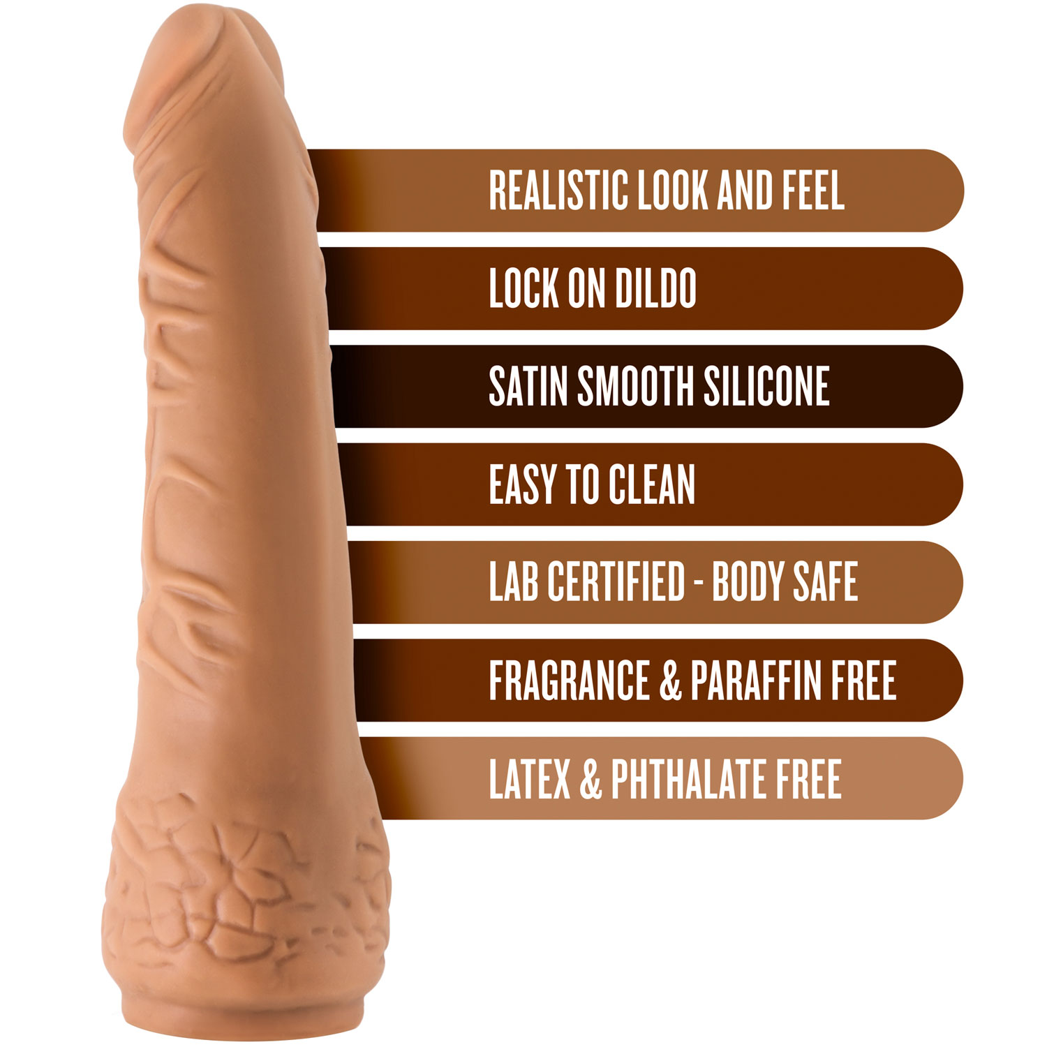 The Realm Realistic 7.5 Inch Silicone Lock On Dildo - Features