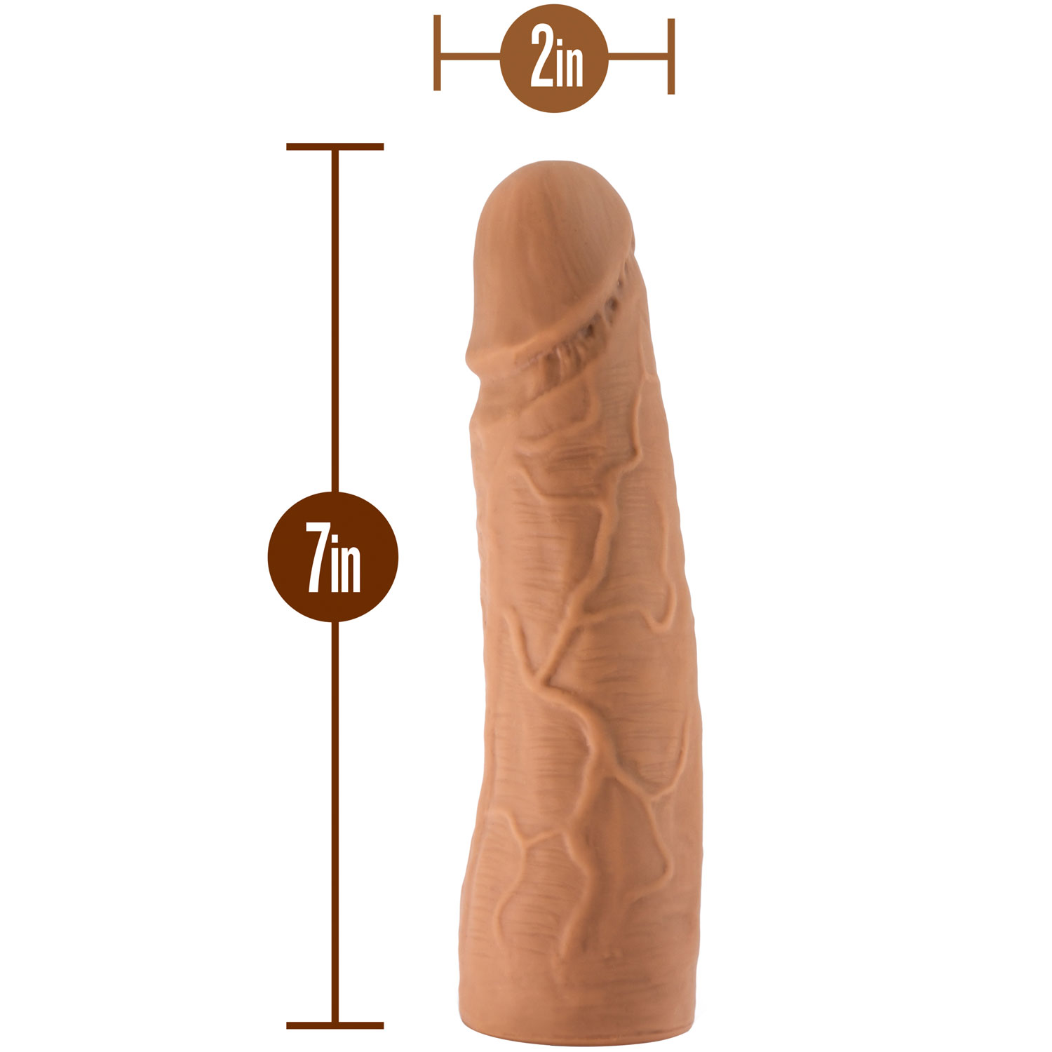 The Realm Realistic 7 Inch Silicone Lock On Dildo - Measurements