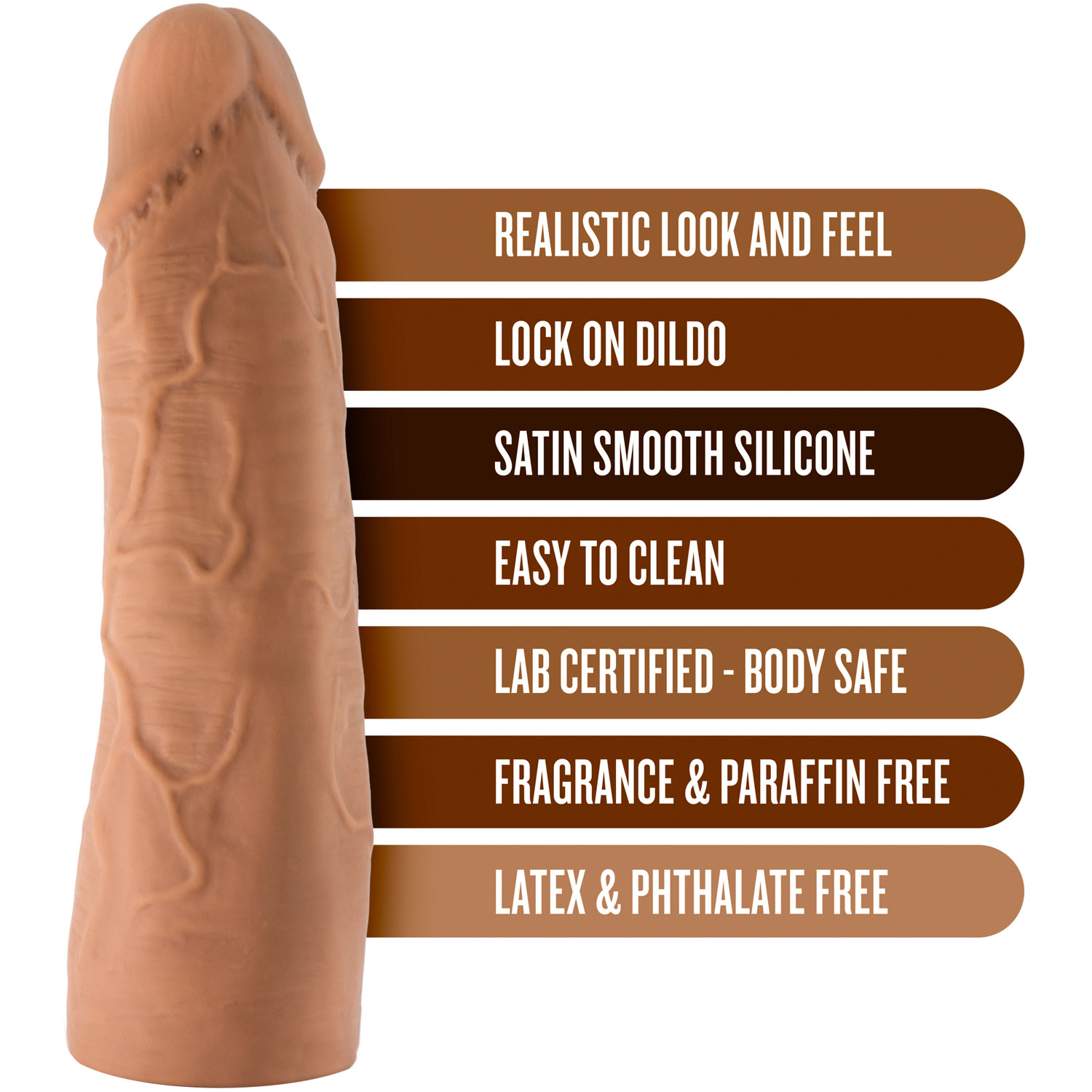The Realm Realistic 7 Inch Silicone Lock On Dildo - Features