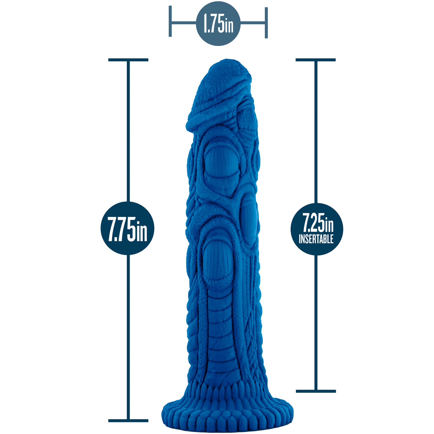 The Realm Draken Silicone Lock On & Harness Compatible Dildo - Measurements