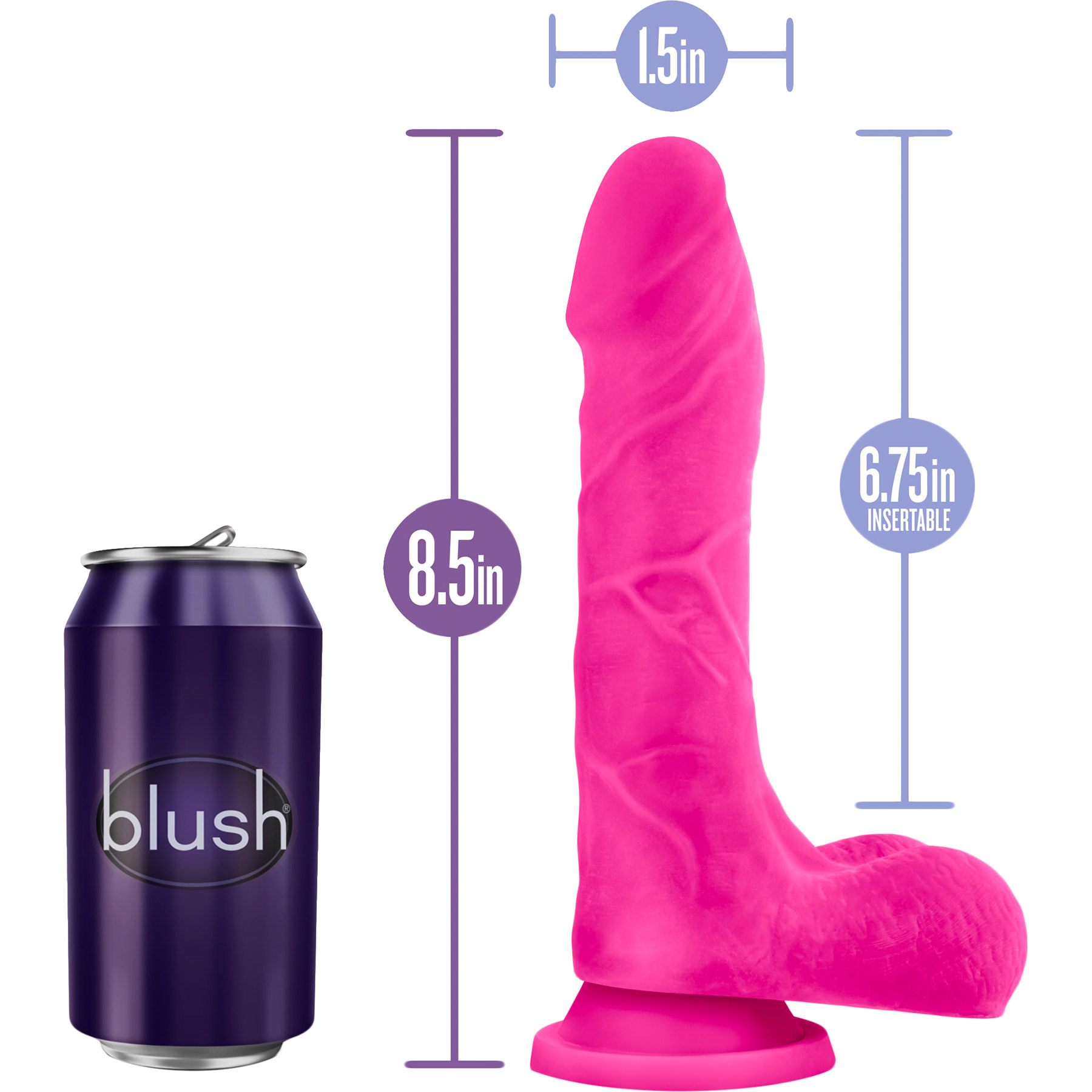 Au Naturel Bold Thrill 8.5 Inch Sensa Feel Dual Density Dildo - Measurements
